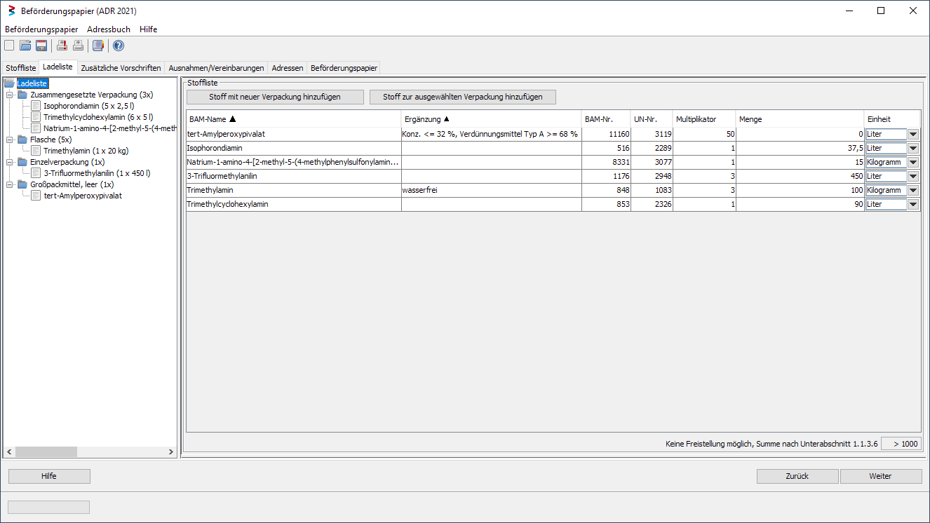 Screenshot from the Contentlist of the integrated Transport Documents Module of the Dangerouus Goods Database