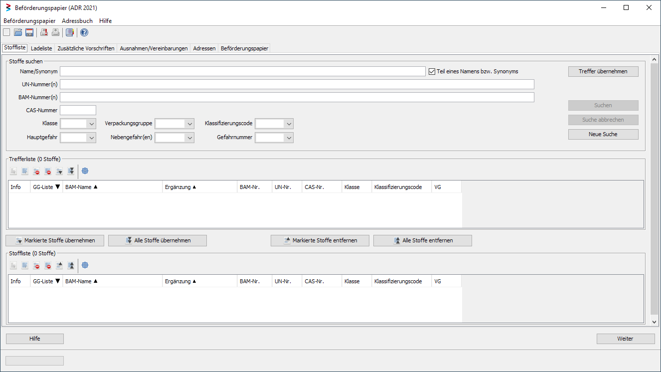 Screenshot from the Search form of the in the Dangerous Goods Database integrated Transport Documents Modul
