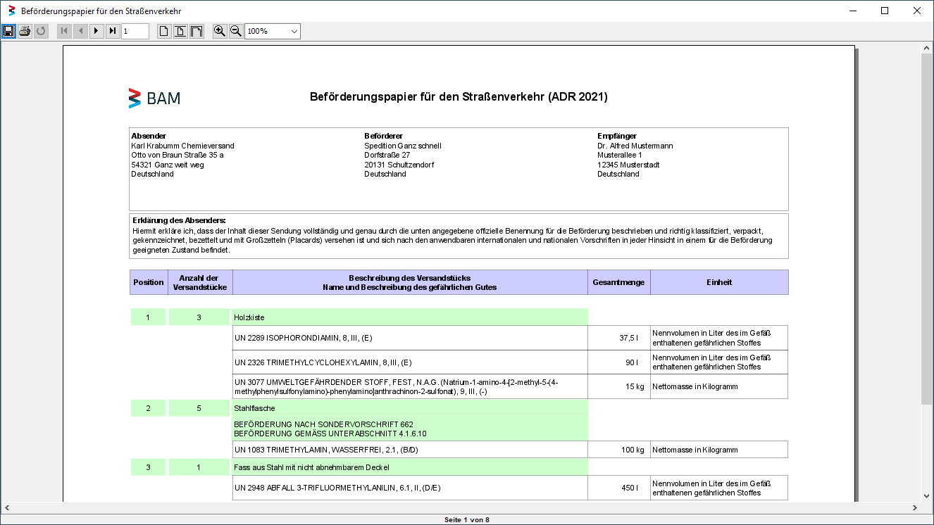 Screenshot from the Transport Document of the in the Dangerous Goods Database integrated Transport Documents Module